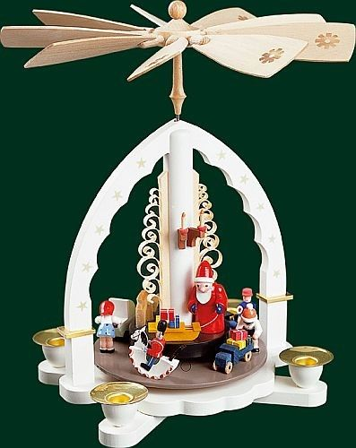 Toyland Santa White German Christmas Pyramid Handcrafted in Germany - christmas carousel decoration