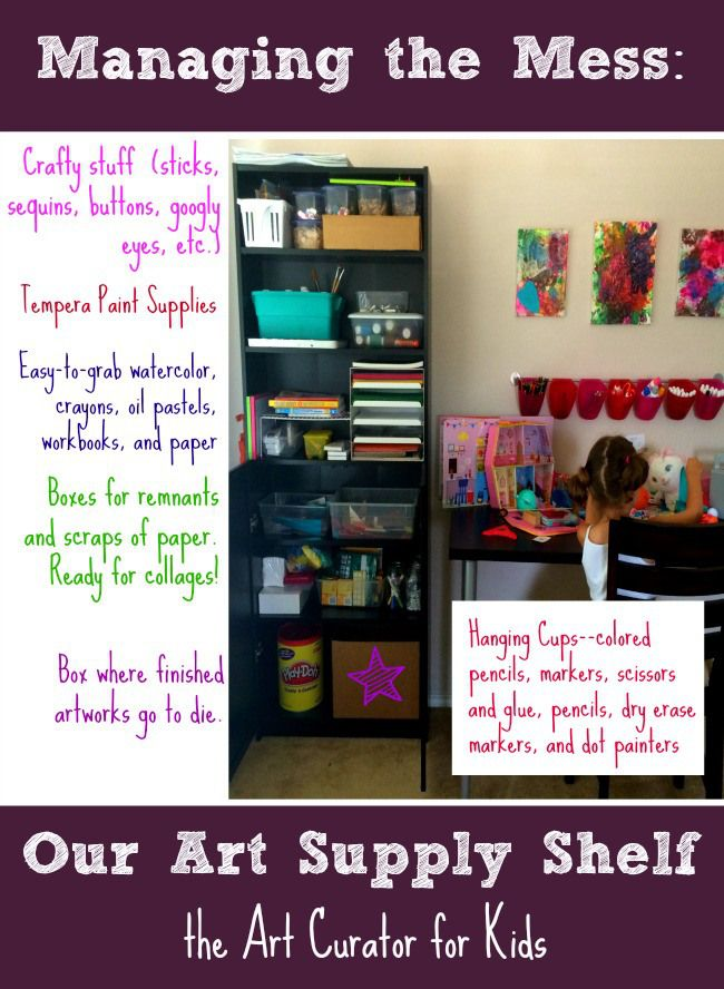 The Art Curator for Kids - Managing the Mess - Our Art Supply Shelf