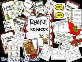 """Rockin' Reindeer~ A Unit based on """"The Great Reindeer Rebellion"""" + Craftivity. Do you love to rock out with some reindeer fun during this Holiday season? This unit has everything you need, include comprehension printables, crafts, and activites on the book """"The Great Reindeer Rebellion"""