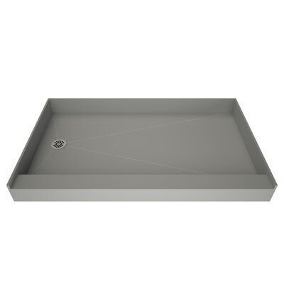Single Curb Shower Pan With Integrated Left Hand Side Pvc Drain