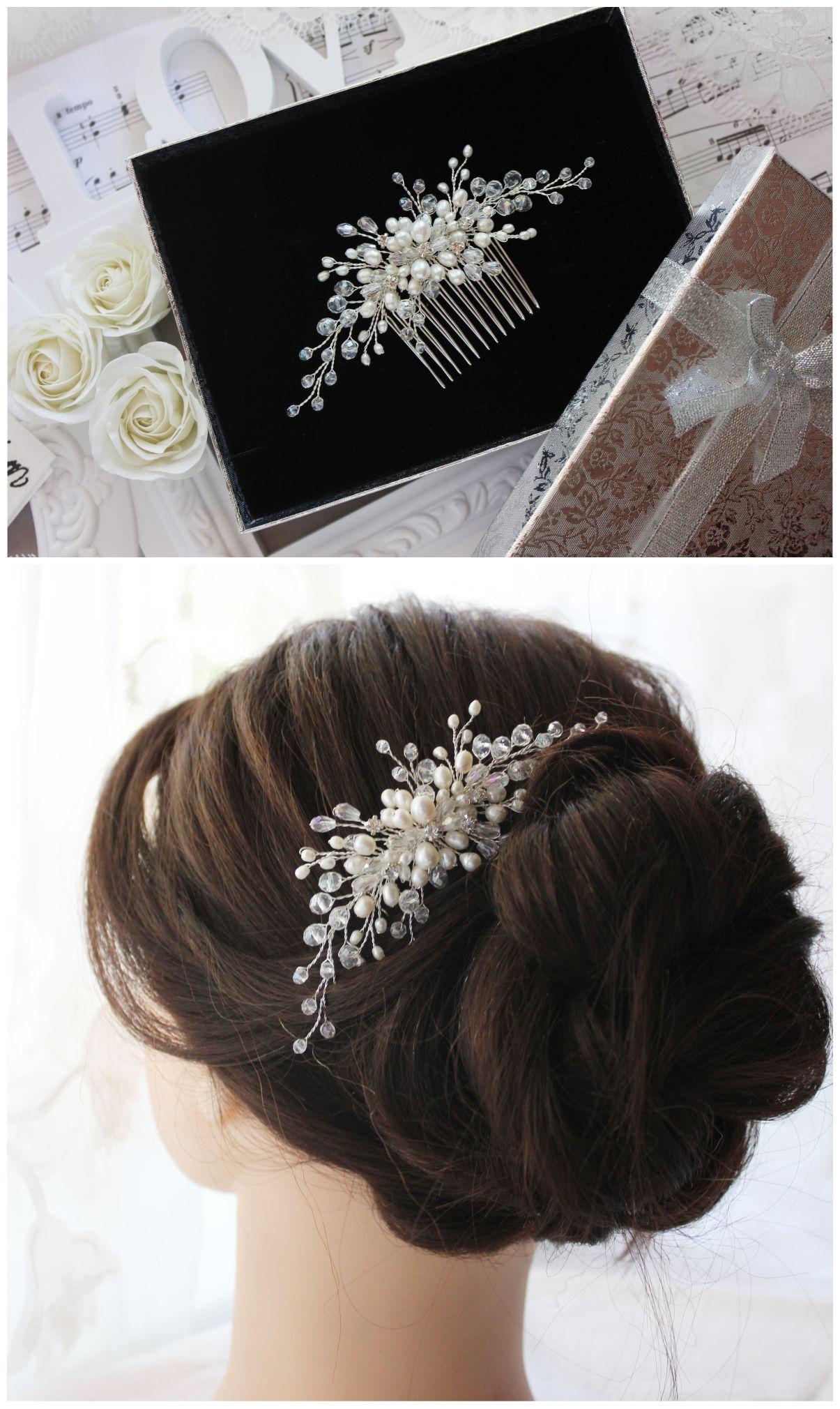 bridal comb pearl natural hair comb wedding hair piece