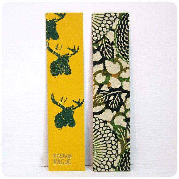 Leather Bookmark - Embossed Moose Head - Japanese Chiyogami  Paper - Yellow - Green