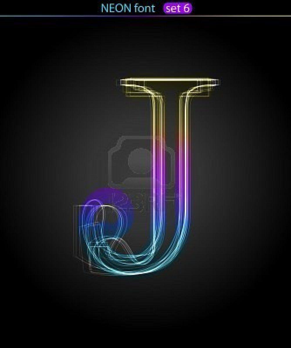 Gradient Color Neon Font. Letter J. VECTOR Royalty Free