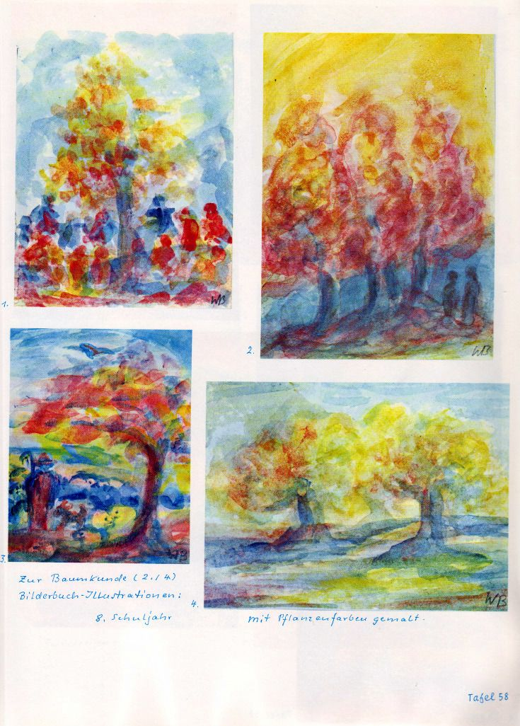 Tafel 58: Baumkunde 03 in Pflanzenfarben, Bilderbuch-Illustrationen (8. Schuljahr) : 1. Gruppentanz einer Tanzgruppe in Rot und Blau um einen Baum in Grün-Gelb mit roten Früchten auf einem rot-gelb-blauen Boden mit einem grau-blauen Himmel  2. Baumgruppe in Rot mit gelbem Hintergrund und zwei menschenähnlichen, blau-braunen Gestalten : 3. Baum in Rot-Gelb-Blau am Weg ins Tal mit einem See  4. Bäume in Grün-Rot auf freiem Feld in Blaugrün mit grau-blauem Himmel