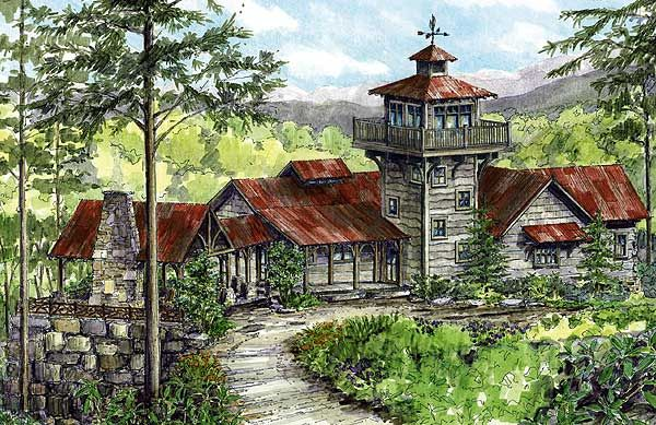 Plan 13307ww Mountain Retreat With Lookout Tower Cabin