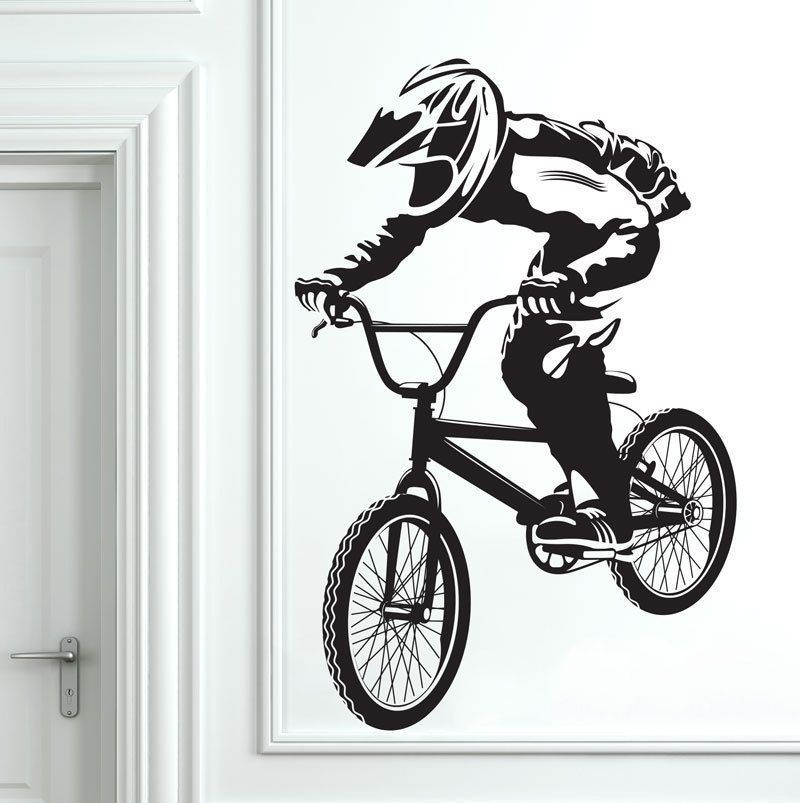 Removable BMX Bike Bicycle Biker Boys Wall Decal Vinyl Wall - Vinyl stickers for bikes