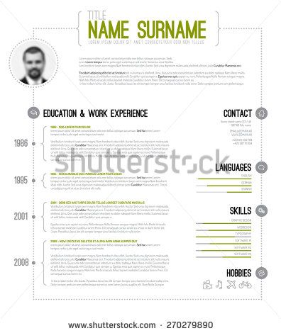 Vector minimalist cv / resume template with timeline - green version