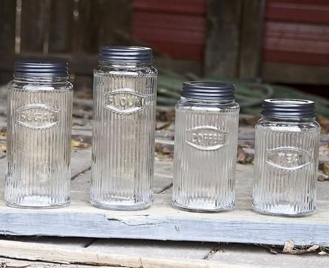 Delightful Unique Vintage Inspired Rustic Hoosier Kitchen Cabinet Mfg. Co Glass 4  Piece Canister Set Nice Look