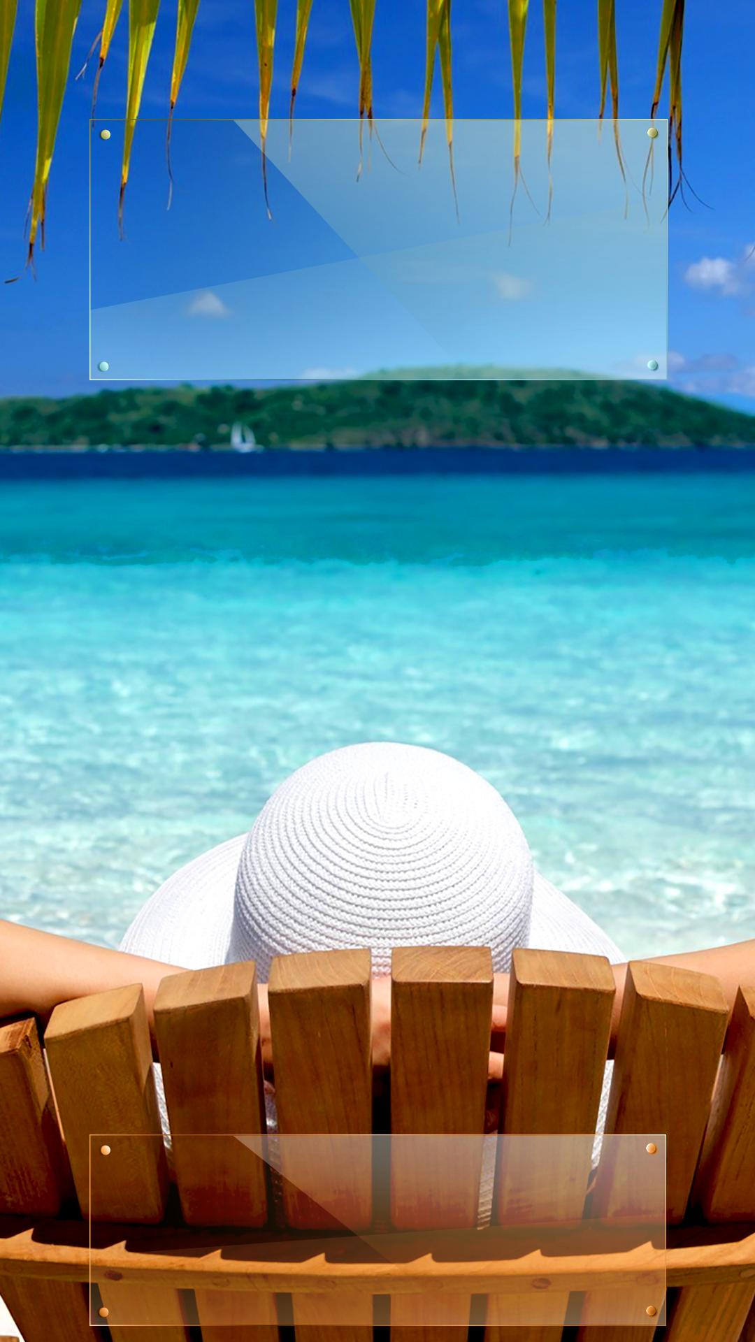 Tap And Get The Free App Lockscreens Art Creative Sky Water Sun Beach Chill Hat Blue White Palms Hd Iphone 6 Plus Lo Rain Wallpapers Hello Summer Lockscreen