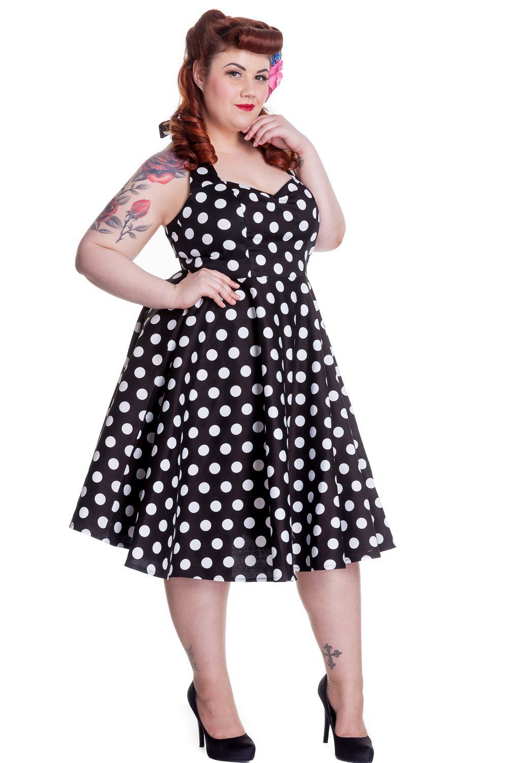 93ec26d2a6c9e Hell Bunny Plus Size 60 s Black and White Polka Dot Halter Party Dress with  A-line Flare Skirt. V-neck and halter styles create a lengthened effect and  ...
