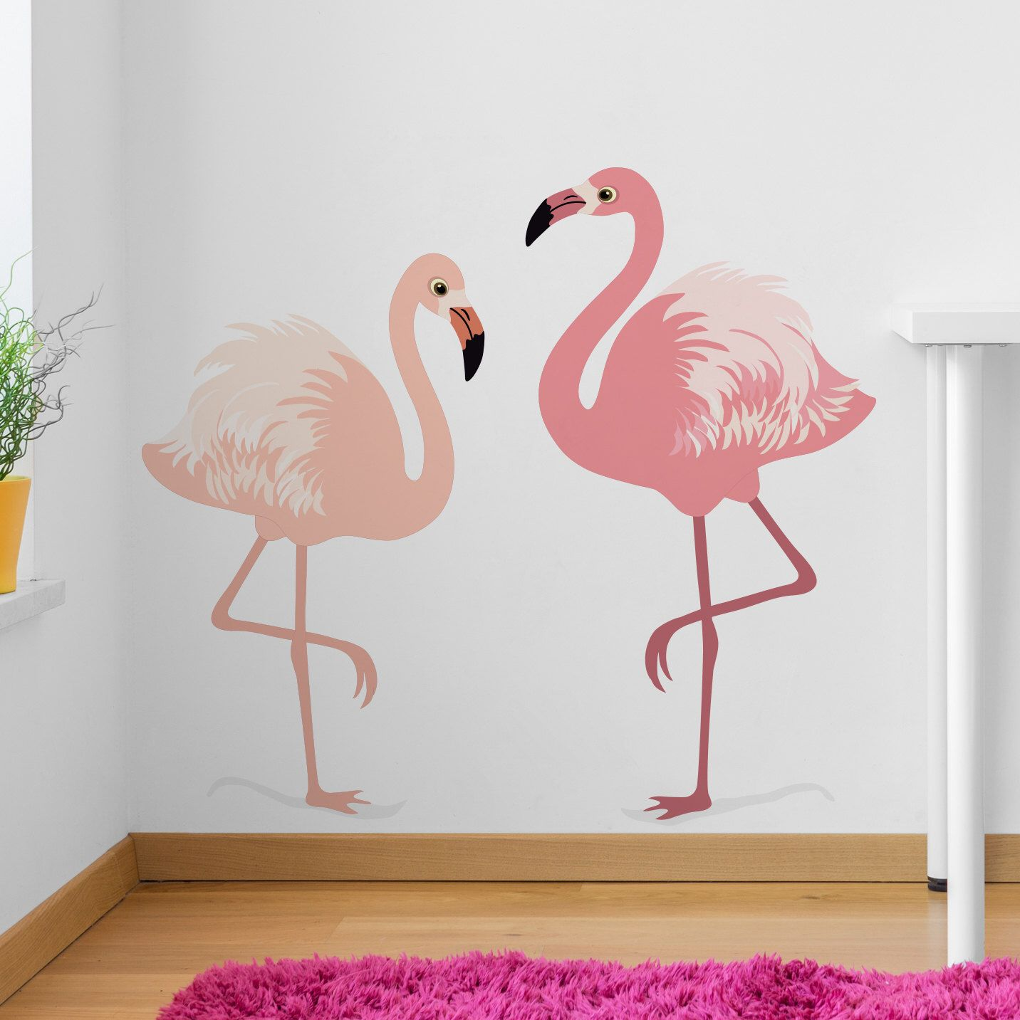 Wall Sticker Set Of Two Flamingos Decals Wall Tattoo Etsy Flamingo Decal Large Wall Stickers Wall Sticker
