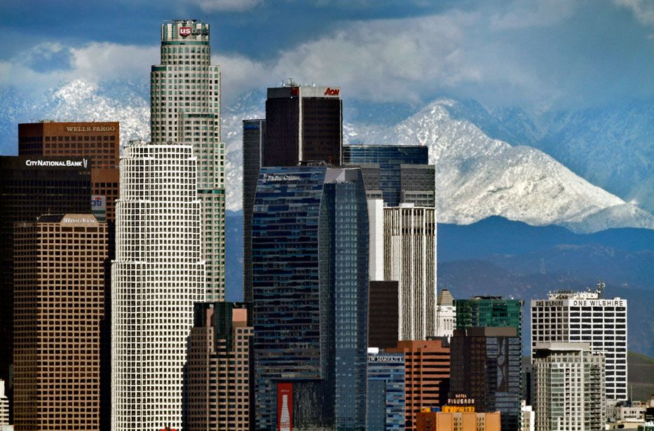 Cold Rain And Low Snow Levels Los Angeles Snow Mountain Downtown