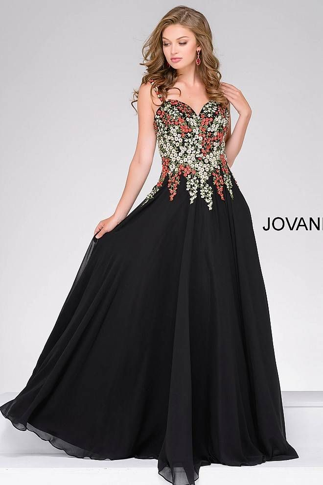 a5fc43589b6 Black fitted sleeveless embroidered long dress with a v-neck and v-back.