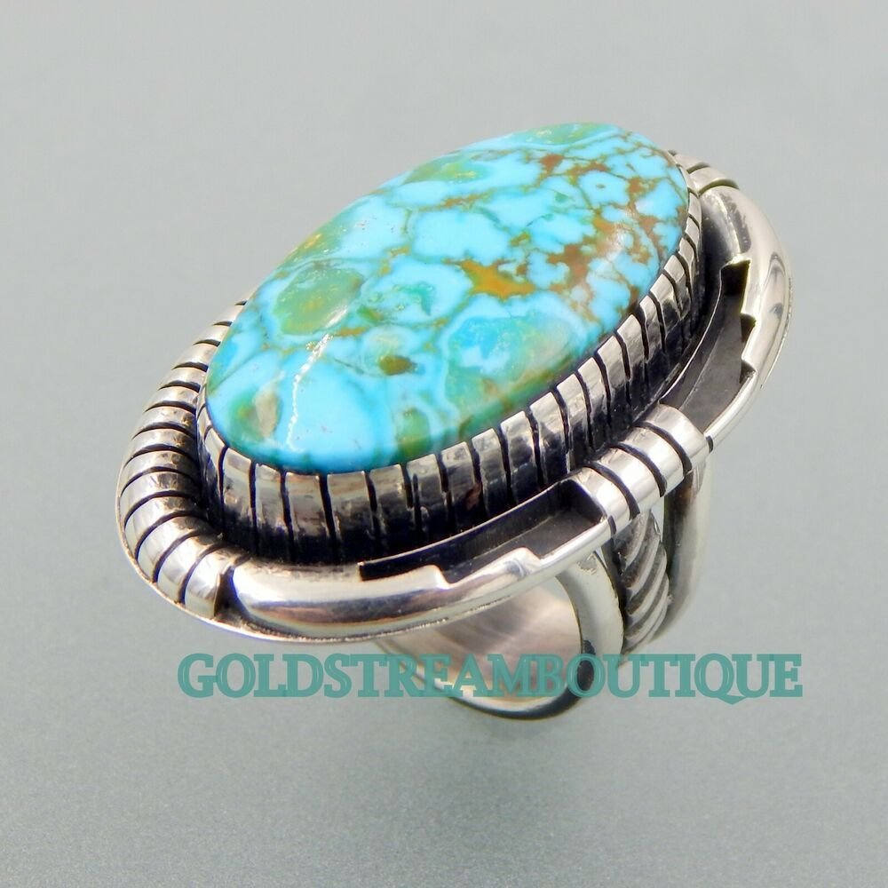 Handmade Native American Indian Southwestern Elongated Kingman Turquoise and Sterling Silver Ring