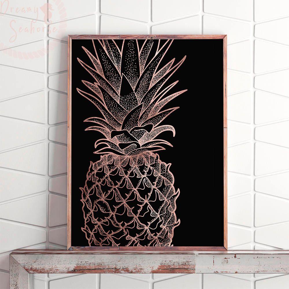 Rose gold printable pineapple wall art pineapple print art