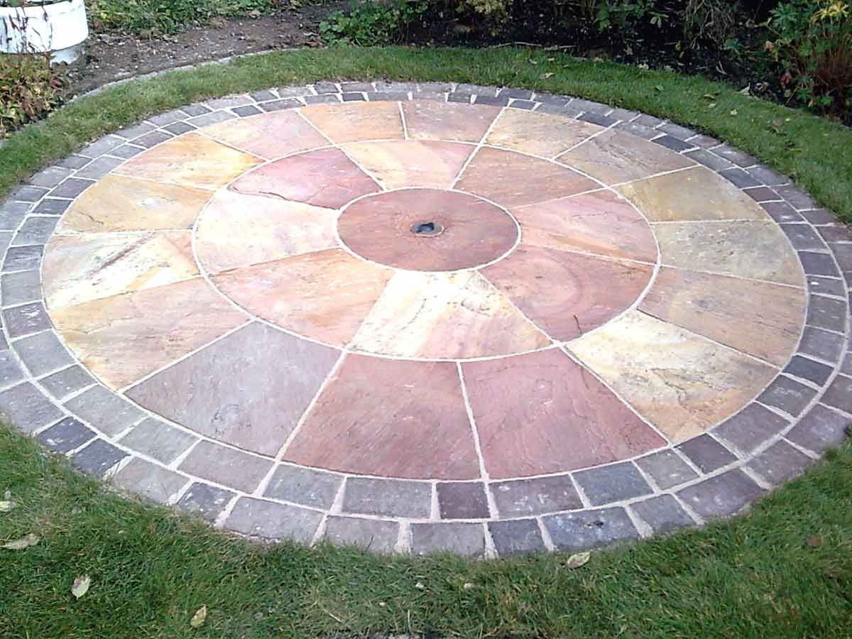 Paving circle sundial pinterest patios gardens and for Garden design kits