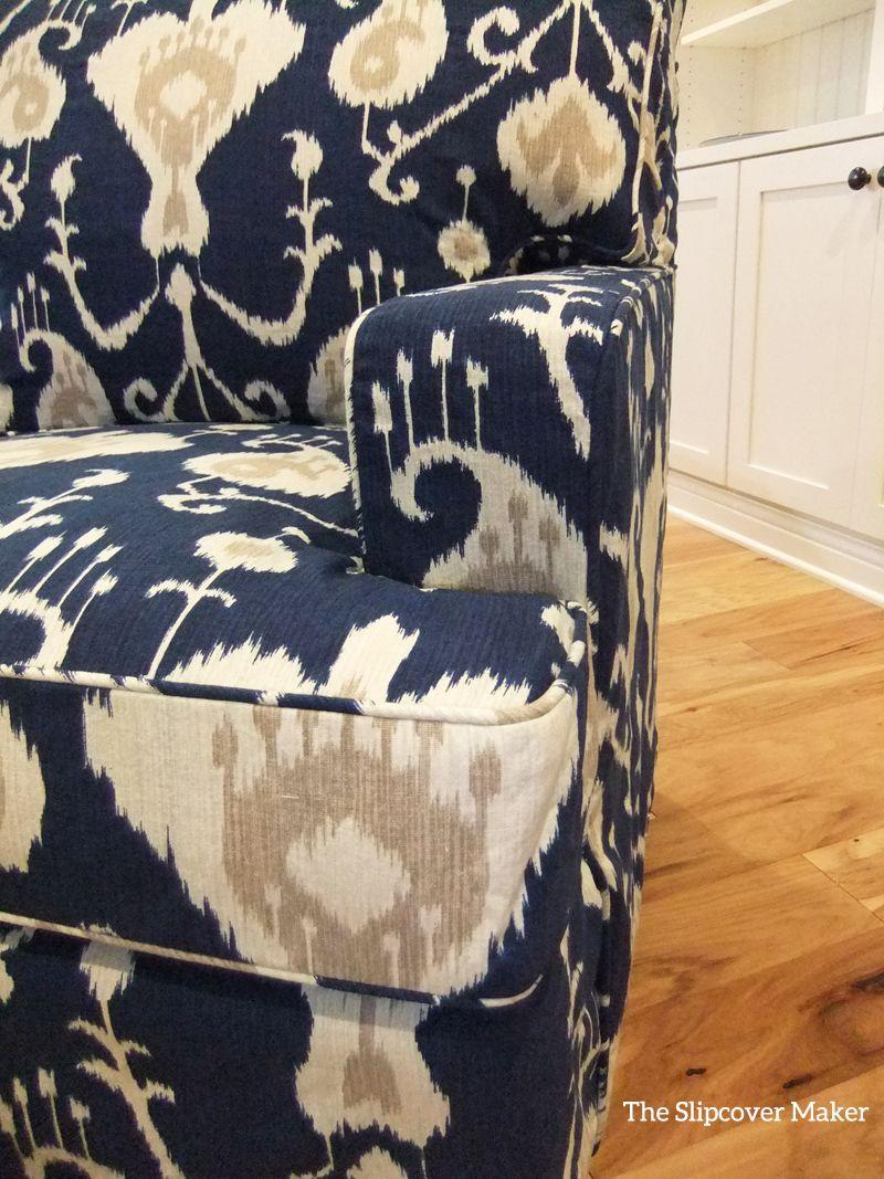 Superieur Custom Slipcover In Magnolia Java Ikat Cotton, Navy Blue. Beautiful Indigo  Color!