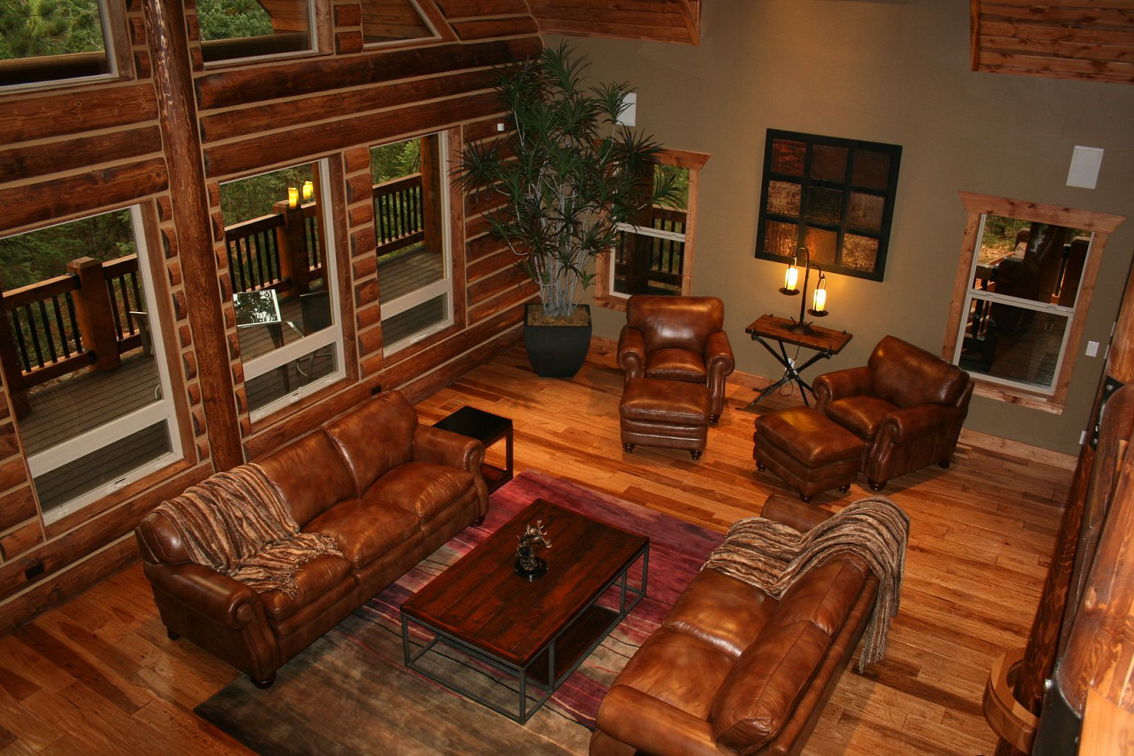 Log Cabin Interior Design, Wooden Cabin Decorating Ideas: Log Home Interior  Design With Brown Leather Sofa ~ Ranario Part 28