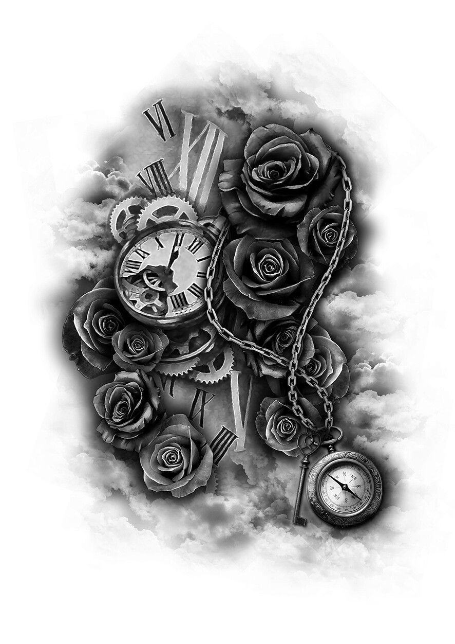 Rose Clock Tattoo Designs Drawing: Tattoo Mechanic Sleeve Clock With Roses And Chains