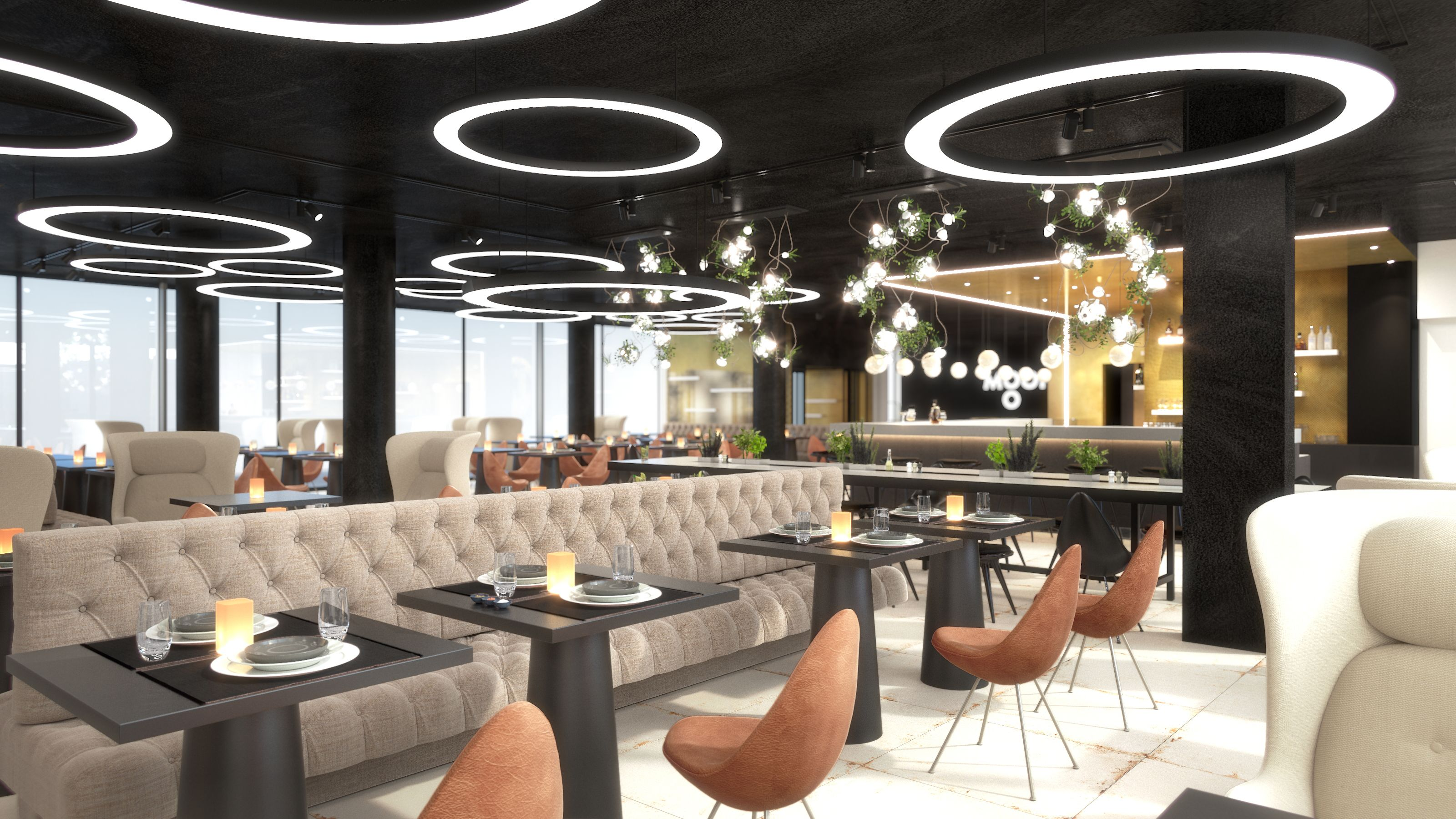 rendering of multi functional space in hotel mooons in vienna