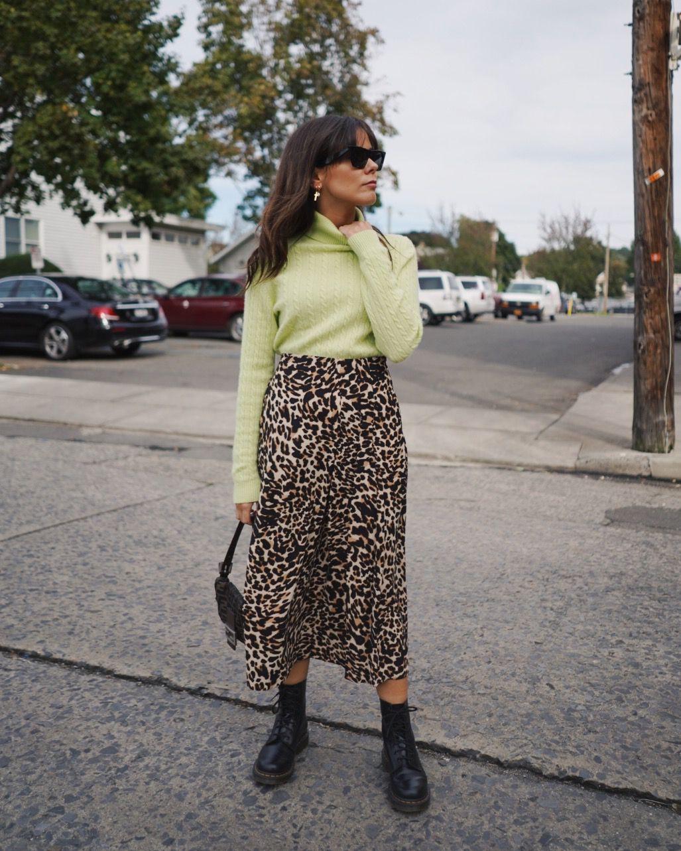 f3fc4d0828 Leopard print Zara skirt, dr. Martens classic boots, light green knit  sweater. Fendi baguette bag