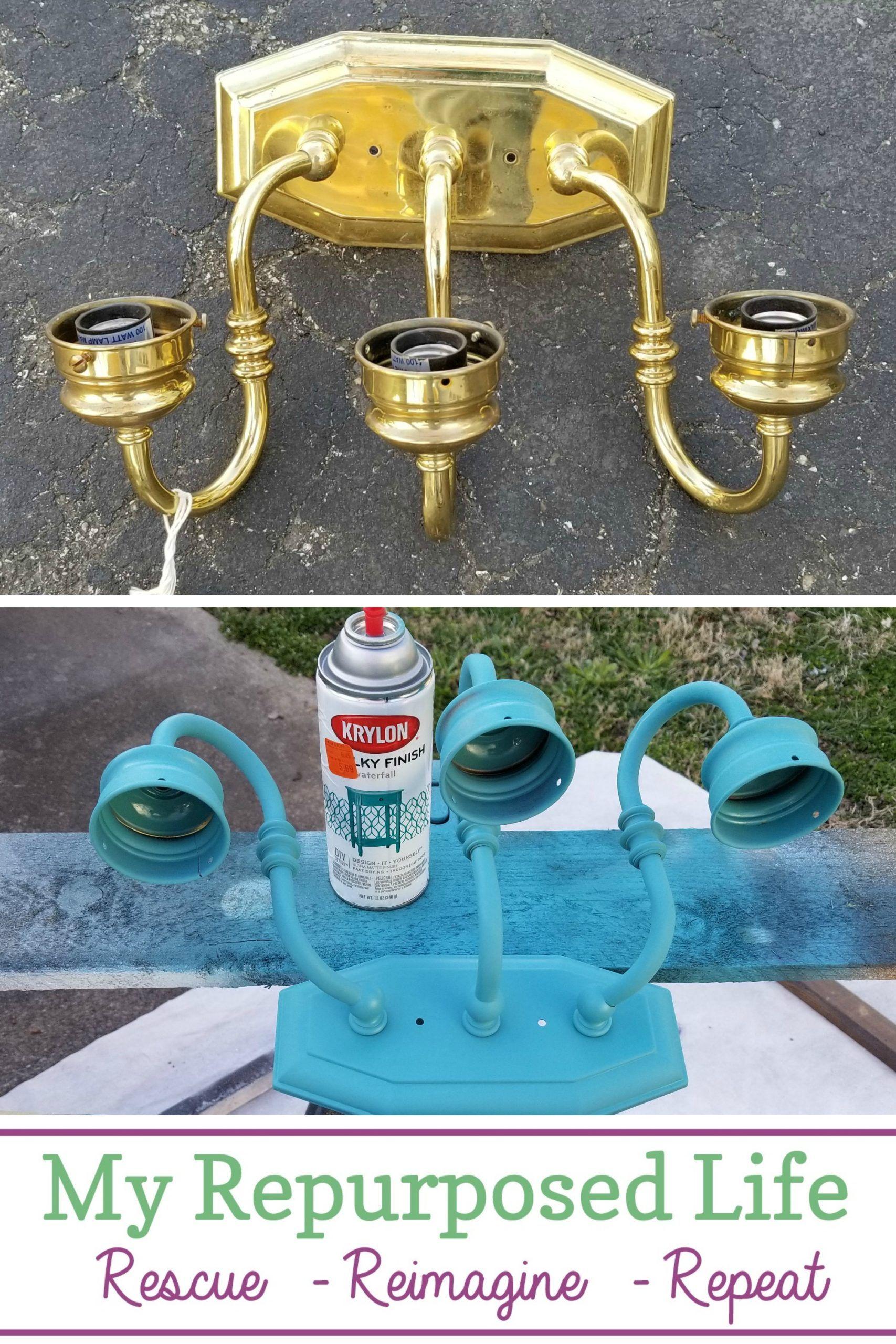Thrifted brass vanity light gets a new look with spray paint. It even gets a new purpose as a solar light sconce for a backyard camper retreat. What a great way to add color and lighting. Choosing the right solar lights has proven to be a challenge, but I will win out in the end! #MyRepurposedLife #brass #light #repurposed #spraypaint #solar