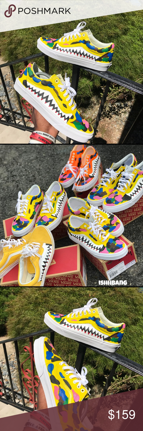 2e73d4eb5295 Multi-Colored Bape Vans Customized Yellow Size 13 - You are viewing my  customized pair of Bape Vans in a size 13. I have a size 13 ready to be  made.