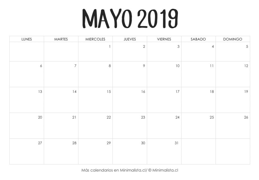 Calendario Mayo2019.Calendario Mayo 2019 Para Imprimir Pintar Plantilla Calendario