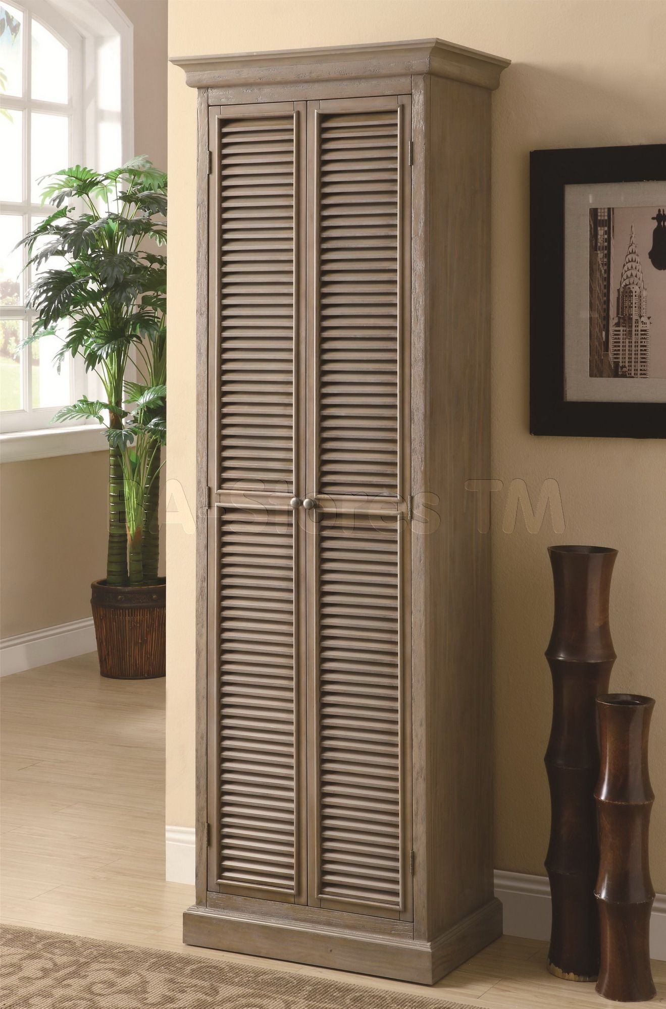 Tall Storage Cabinet With Shutter Door Fronts Tall Cabinet Storage Furniture Coaster Furniture