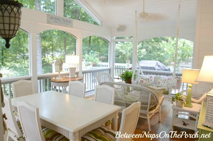 furniture for screened in porch. Screened-in Porch Freshened Up With Paint Furniture For Screened In