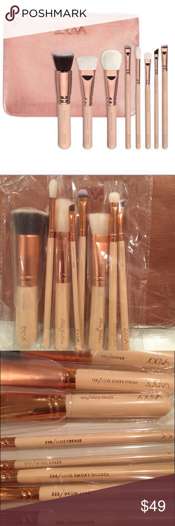 Zoeva 8pc makeup brush set Zoeva rose gold brush set 8pc