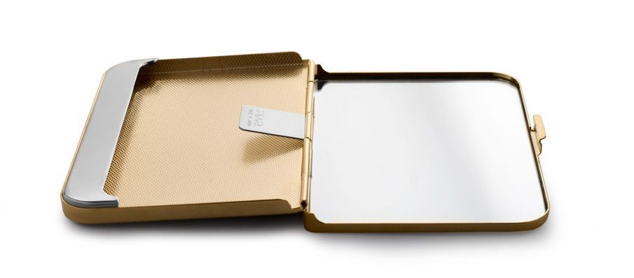 Satin finish brass business card holder with inside mirror satin finish brass business card holder with inside mirror colourmoves