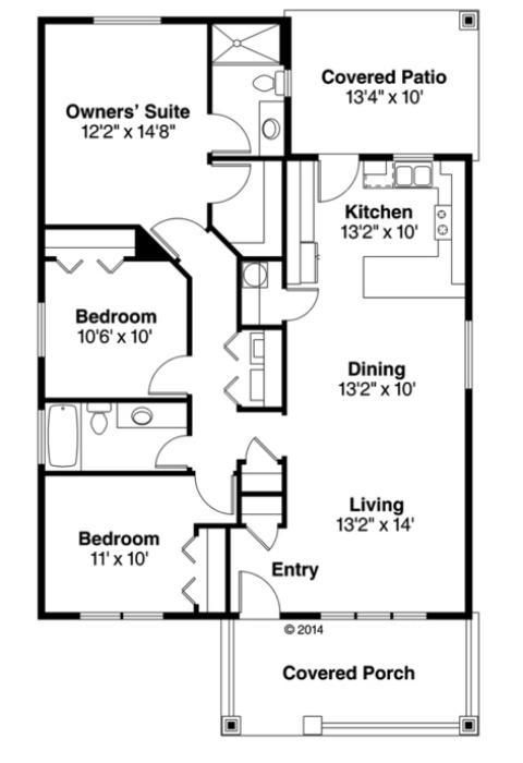 Plano casa de una planta tres dormitorios y 118 metros for Dormitorio 15 metros cuadrados