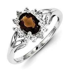 Sterling Silver Diamond and Smoky Quartz Ring Jewelry Brothers, To enter online shopping Just CLICK on AMAZON right HERE http://www.amazon.com/dp/B00I4M7E3M/ref=cm_sw_r_pi_dp_4Y0ntb0GXABRT8ET