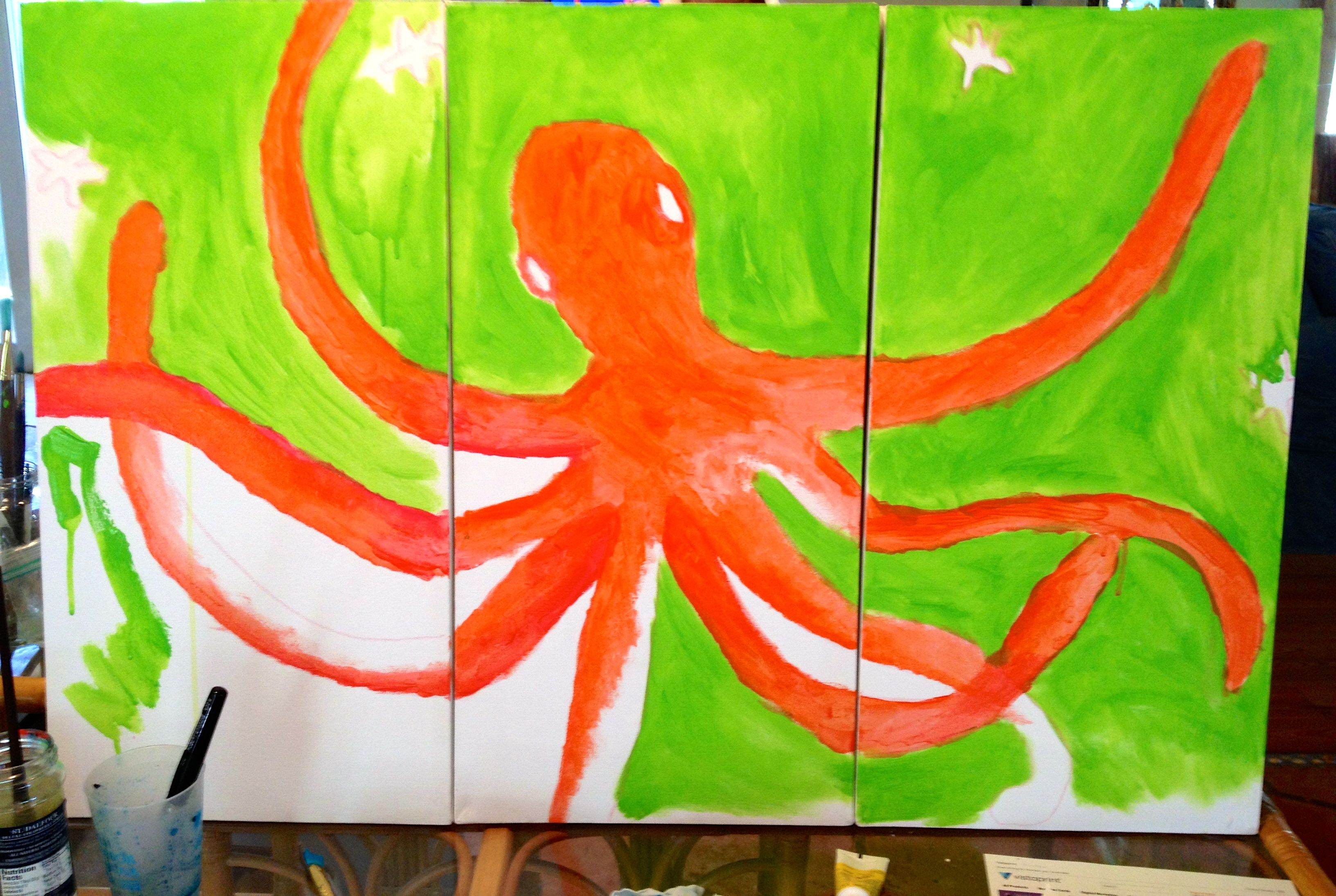 new painting work in progress…octopus on three canvases acrylics.  $350. deb@debyagerart.com
