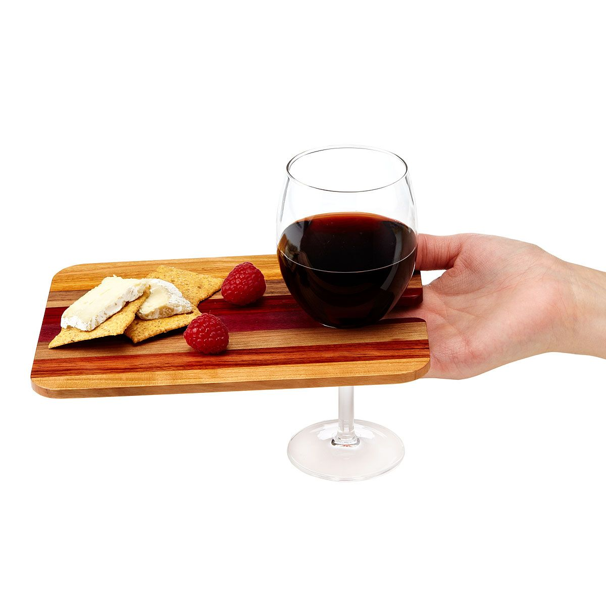 Wooden Party Trays Set Of 6 Wine Glass Holder Snack