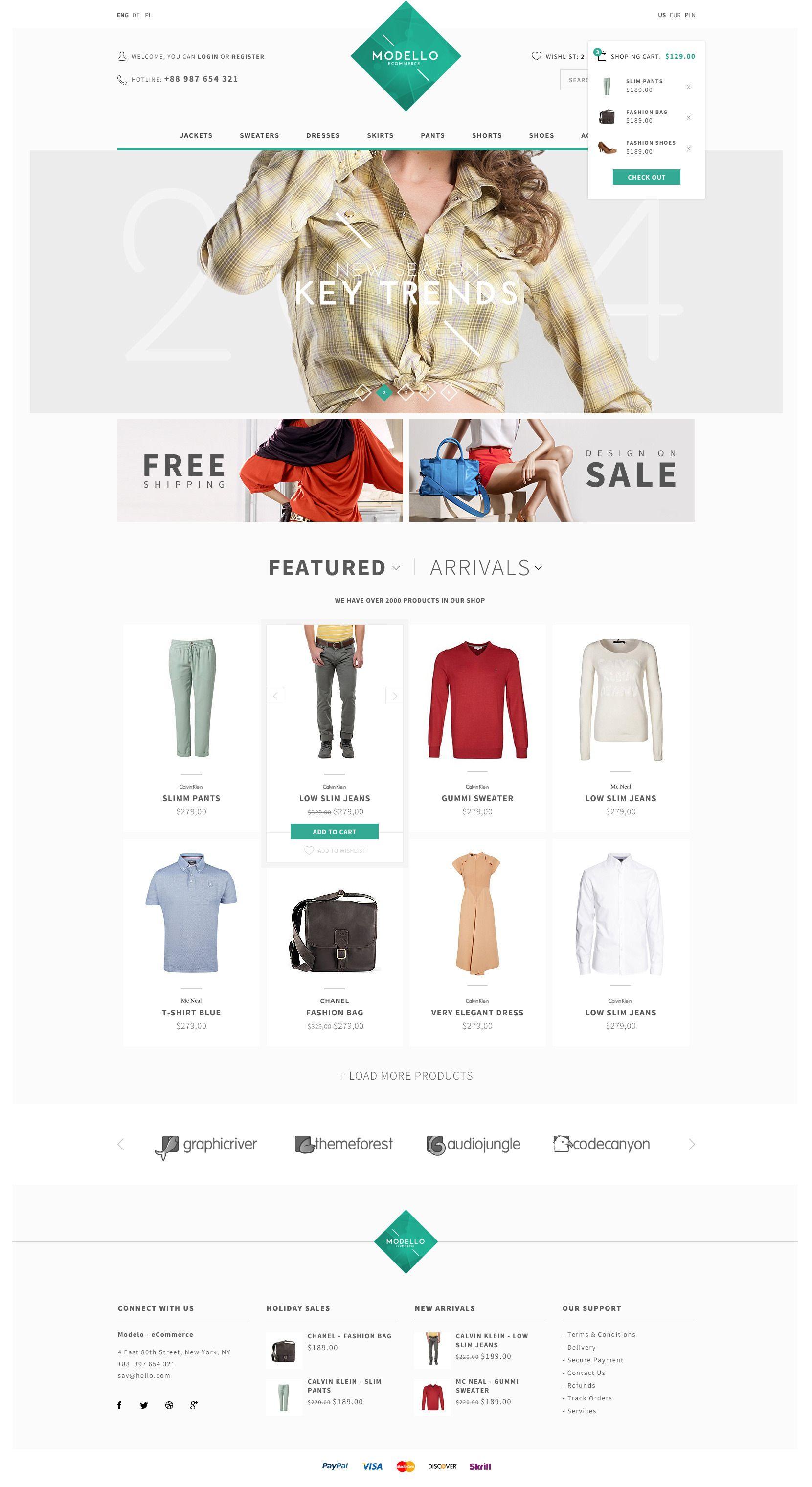 Modello - eCommerce PSD Template #eCommerce, #Modello