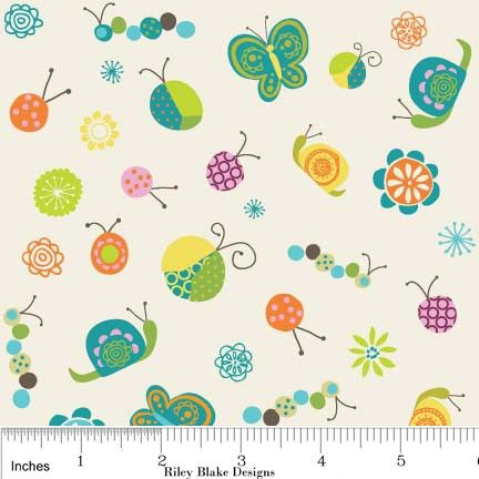 Happier Fabric by Deena Rutter for Riley Blake, Happier Bugs in White