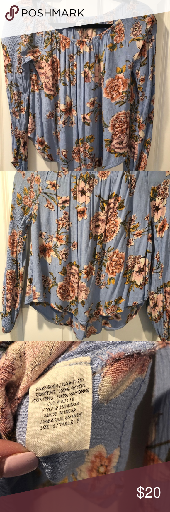 Billabong Mi Amore Floral Print Off-The-Shoulder Heart-melting winter blooms, made for the ever-shifting spirit. Taking bohemian vibes into the winter months, the Mi Amore features long sleeves that can be worn on or off the shoulder and a relaxed, draped fit.  Floral print off the shoulder top. Can be worn on or off the shoulder. Long sleeves. Elastic at neck and sleeve openings. Relaxed, flowy fit. Pattern: floral print. Material: woven rayon. Billabong Tops Tees - Long Sleeve