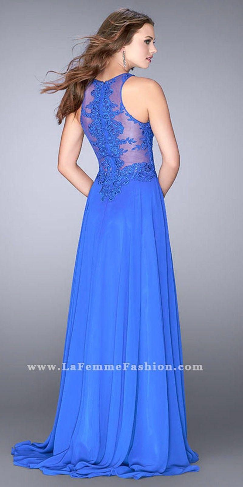 Classic lace chiffon aline evening dress by la femme pasta de