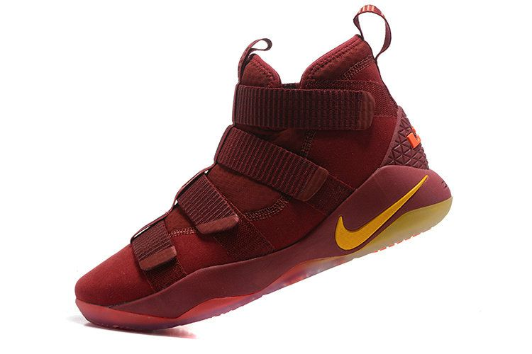 31818f9e63b Free Shipping Only 69  Nike New LeBron Soldier 11 XI LBJ PE Wine Gold Cavs