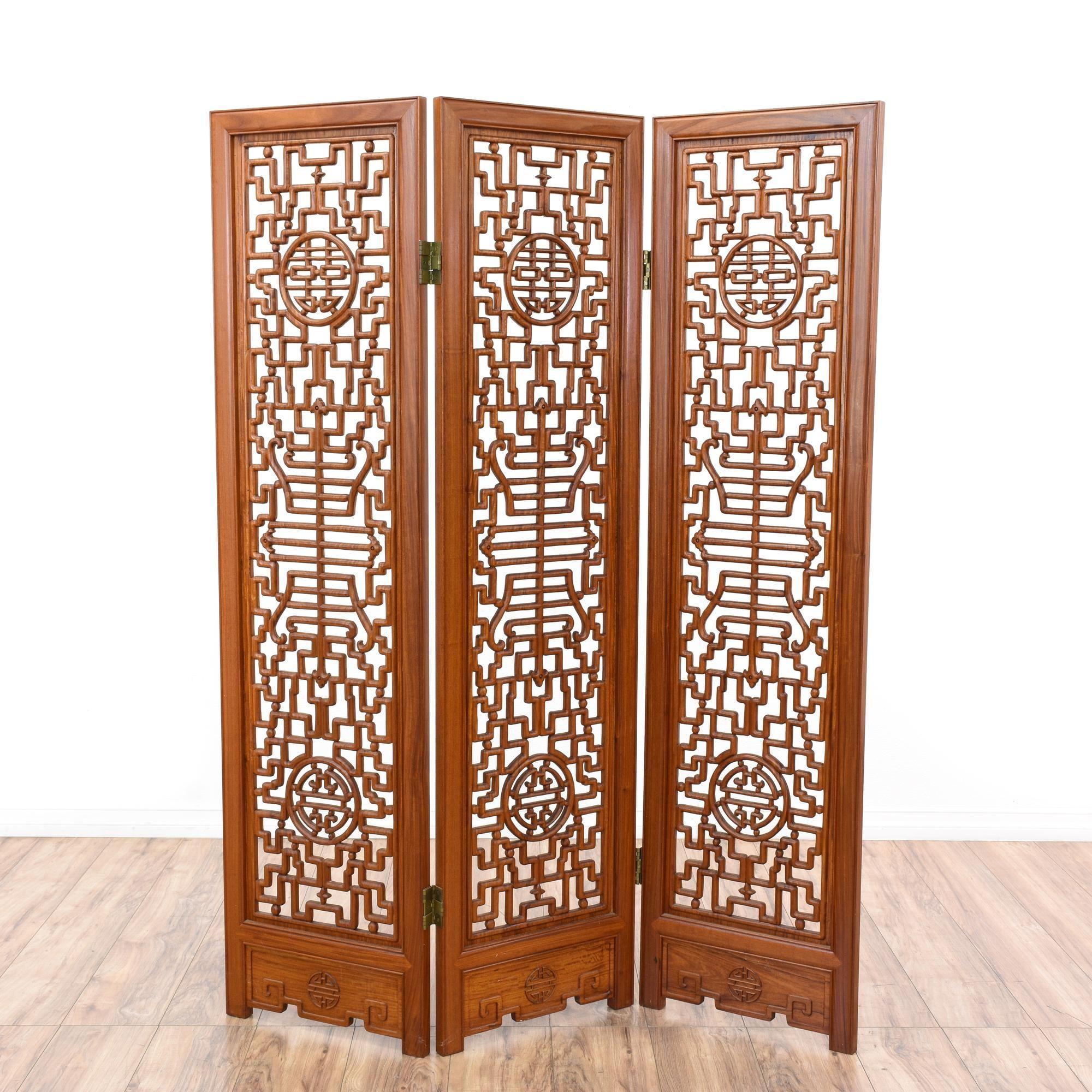 Asian cherry carved folding room divider screen cherries art
