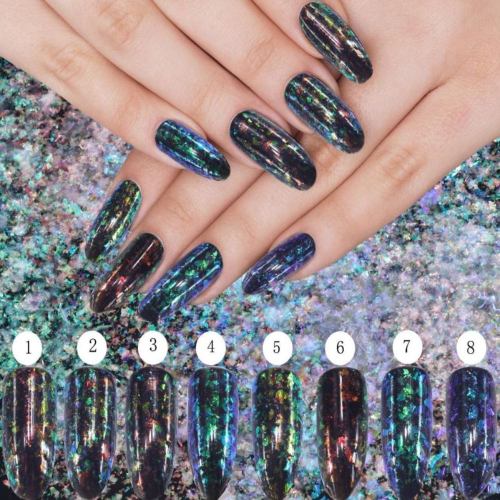 1Box 0.2g Charms 3D Nail Art UV Gel Magic Mirror Powder Manicure ...