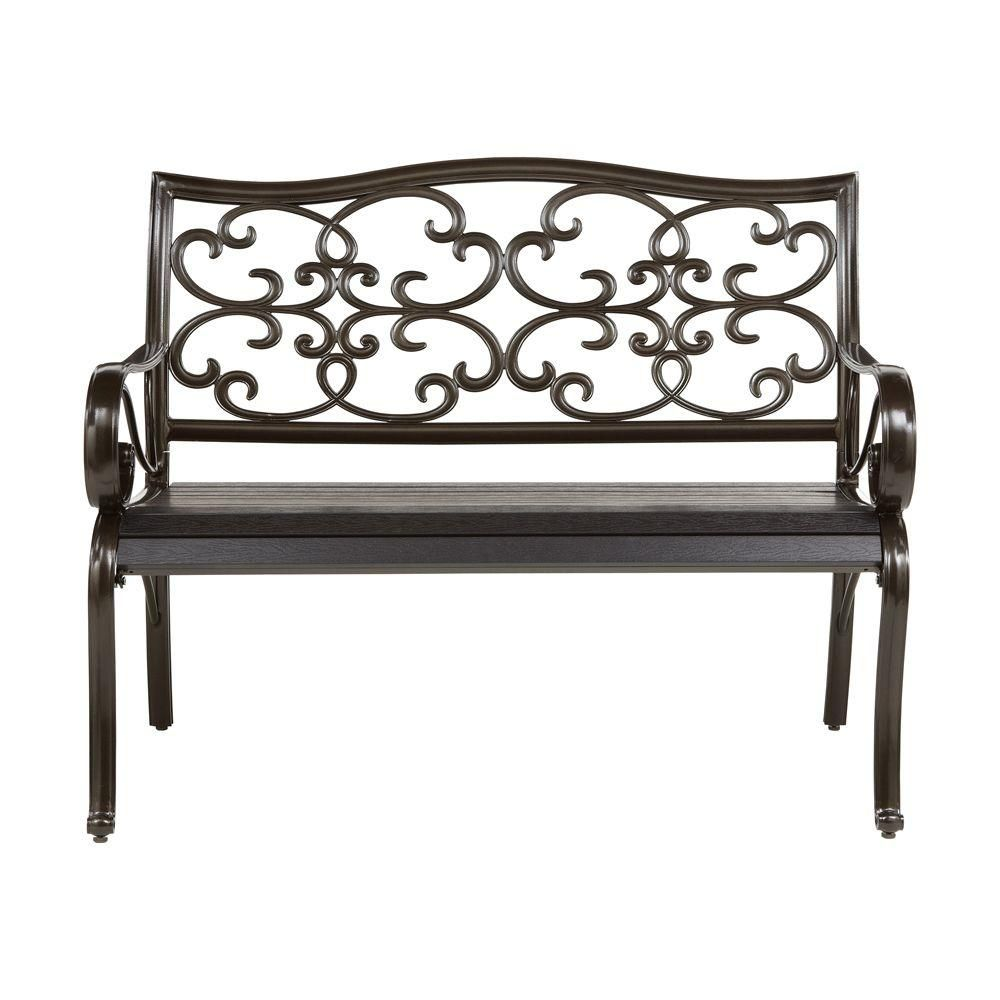 Home Decorators Collection 29 in. W Black Artis Outdoor Bench ...