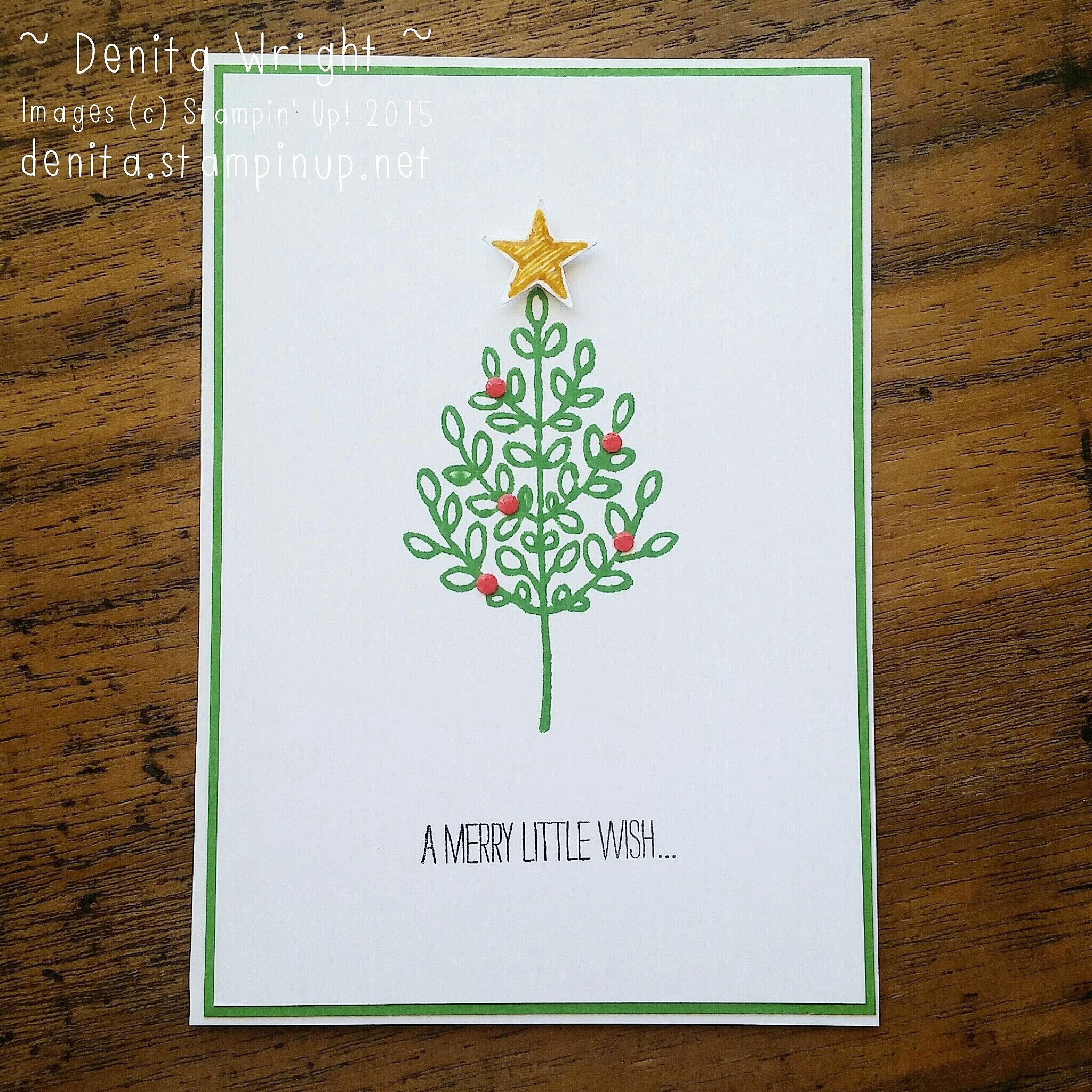 A sweet and simple Lighthearted Leaves Christmas notecard. Made by Denita Wright Independent Stampin' Up! Demonstrator Australia