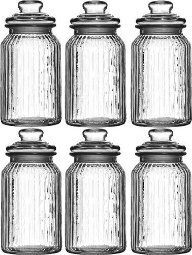 Set Of 6 1300Ml Large New Vintage Glass Kitchen Tea Coffee Sugar Inspiration Glass Kitchen Containers 2018