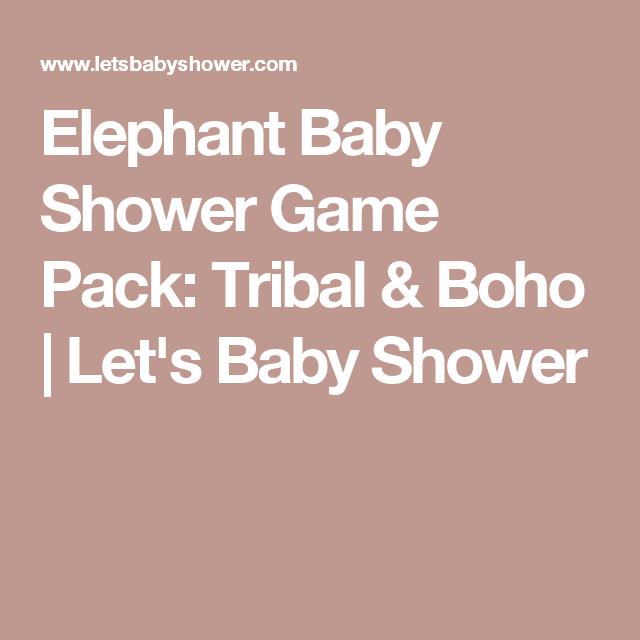 Elephant Baby Shower Game Pack Tribal Boho Lets Baby Shower
