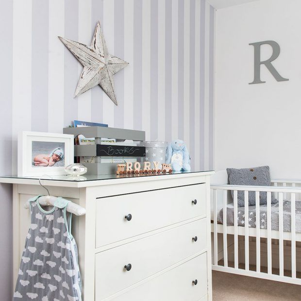 grey furniture nursery. Grey Nursery With Striped Wallpaper And White Furniture