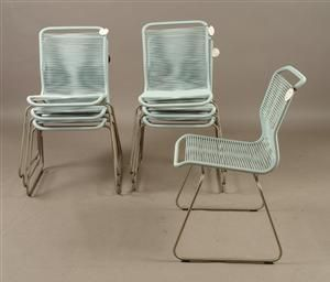 Verner Panton. Seven light blue Tivoli chairs (With images
