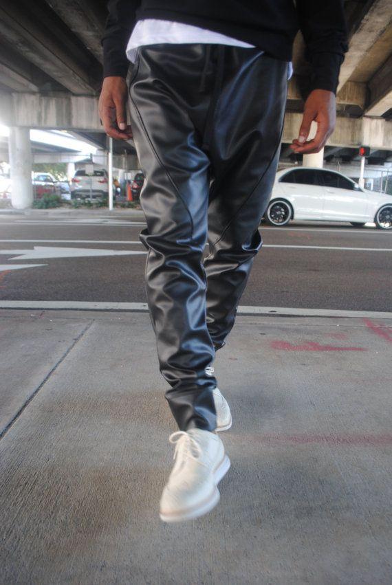 mens black leather drop crotch harem pants mens leather